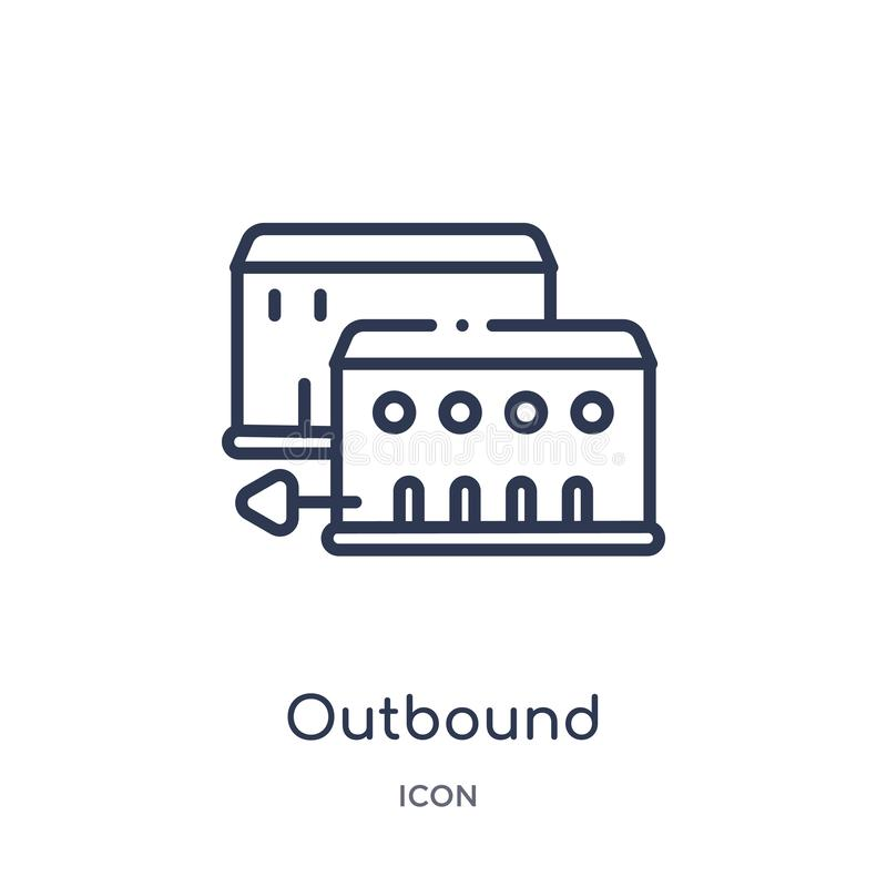 Linear outbound icon from Architecture and travel outline collection. Thin line outbound vector isolated on white background. vector illustration
