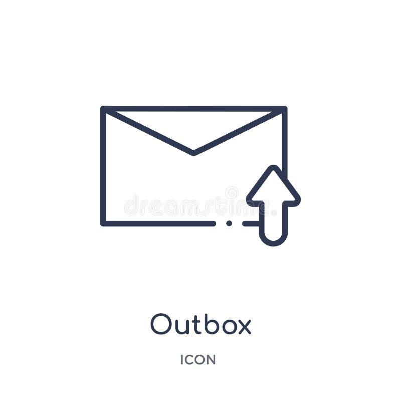 Linear outbox Ikone von der Mitteilungsentwurfssammlung Dünne Linie outbox die Ikone, die auf weißem Hintergrund lokalisiert wird stock abbildung