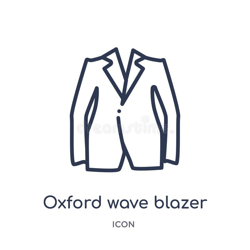 Linear oxford wave blazer icon from Clothes outline collection. Thin line oxford wave blazer vector isolated on white background. Oxford wave blazer trendy vector illustration