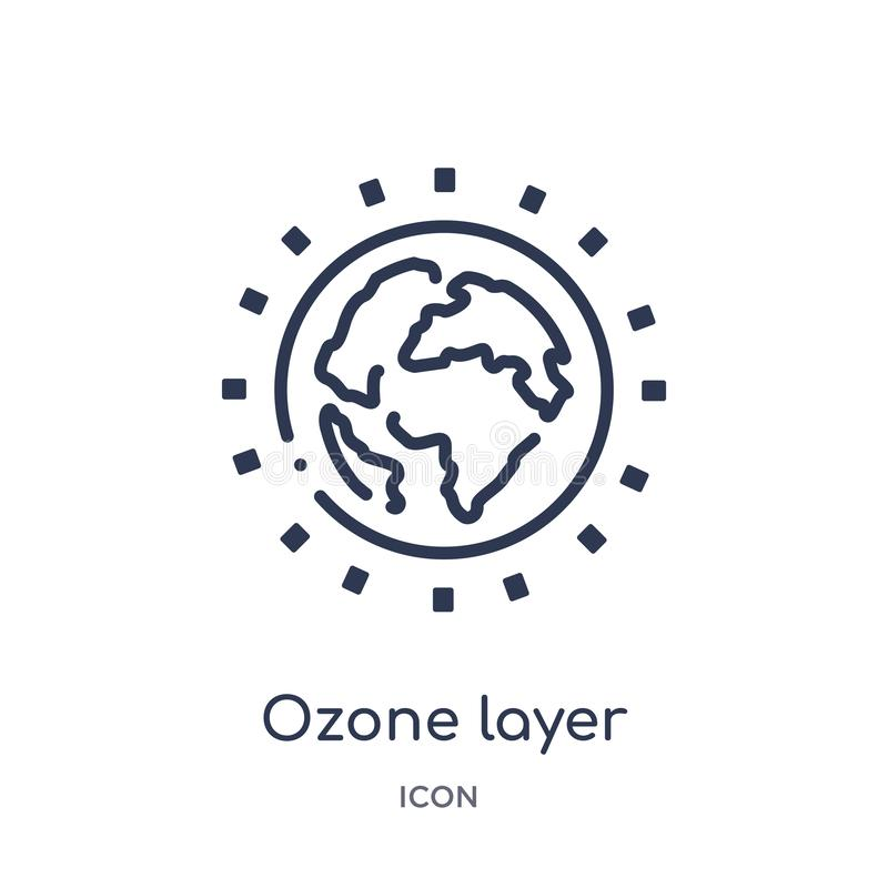 Linear ozone layer icon from Ecology outline collection. Thin line ozone layer vector isolated on white background. ozone layer vector illustration