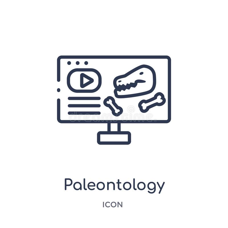 Linear paleontology icon from Elearning and education outline collection. Thin line paleontology vector isolated on white stock illustration