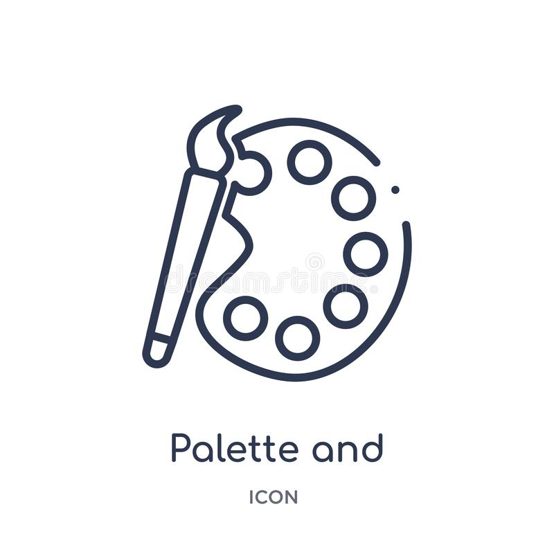 Linear palette and paint brush icon from Art outline collection. Thin line palette and paint brush icon isolated on white royalty free illustration