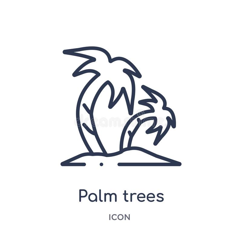 Linear palm trees icon from Holidays outline collection. Thin line palm trees icon isolated on white background. palm trees trendy stock illustration