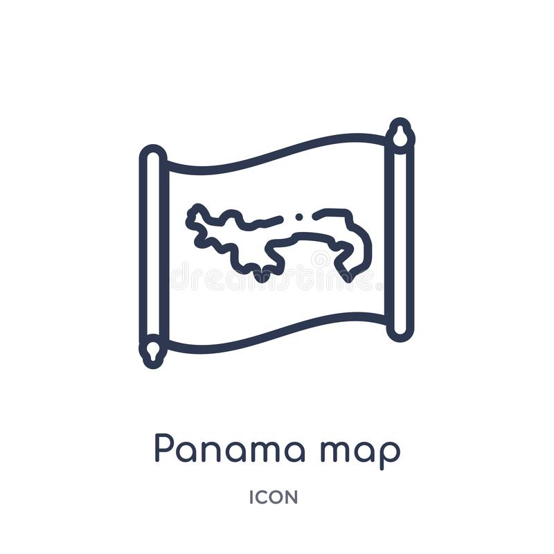 Linear panama map icon from Countrymaps outline collection. Thin line panama map vector isolated on white background. panama map royalty free illustration