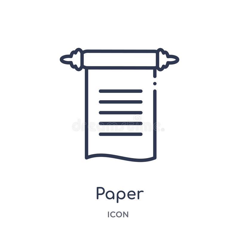 Linear paper icon from History outline collection. Thin line paper icon isolated on white background. paper trendy illustration vector illustration