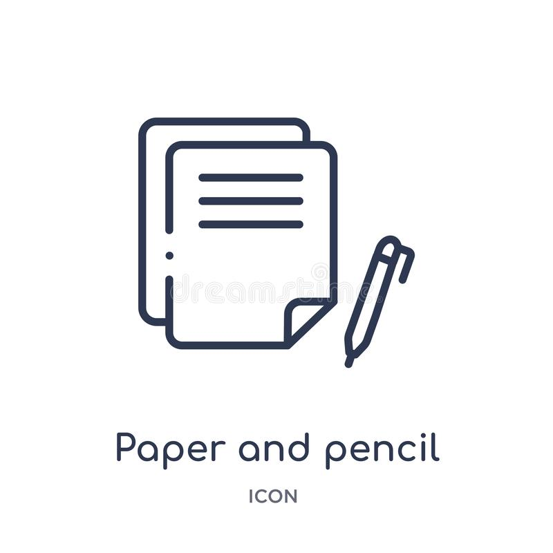 Linear paper and pencil icon from Edit outline collection. Thin line paper and pencil vector isolated on white background. paper stock illustration