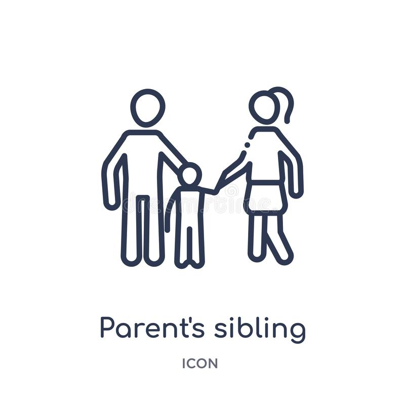 Linear parent's sibling icon from Family relations outline collection. Thin line parent's sibling vector isolated on white stock illustration