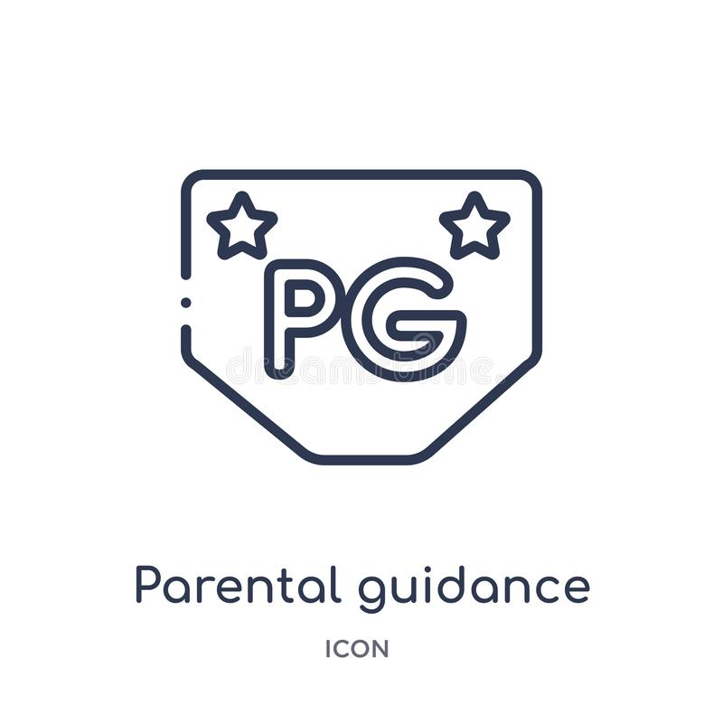 Linear parental guidance icon from Cinema outline collection. Thin line parental guidance vector isolated on white background. Parental guidance trendy vector illustration