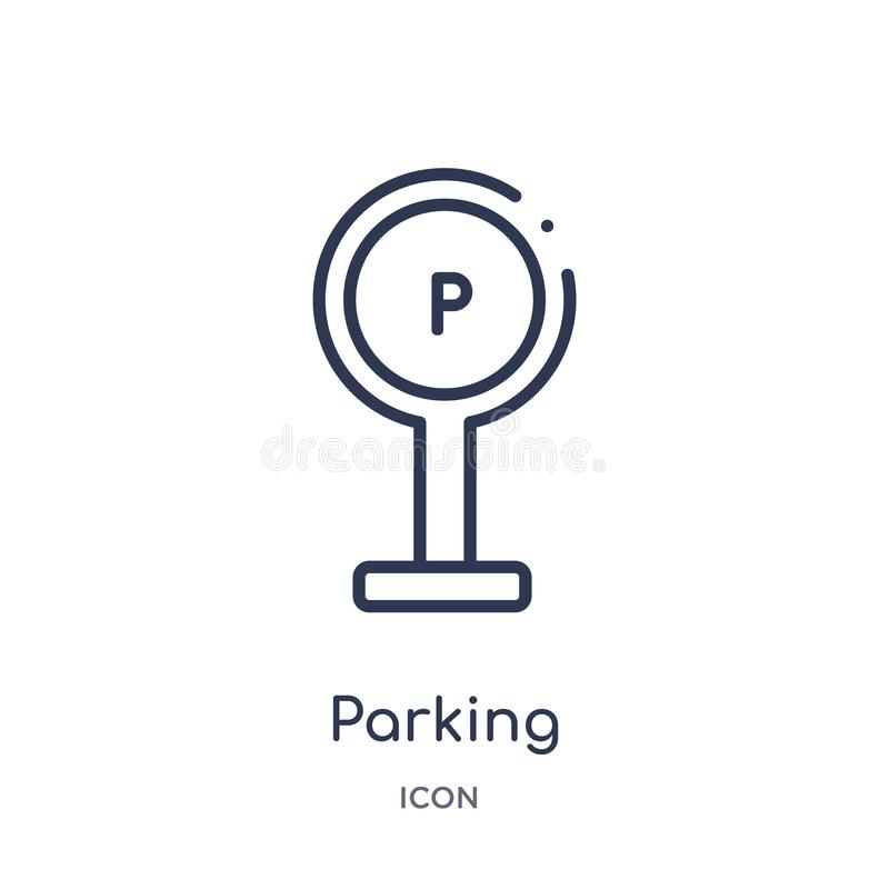 Linear parking icon from City elements outline collection. Thin line parking vector isolated on white background. parking trendy vector illustration