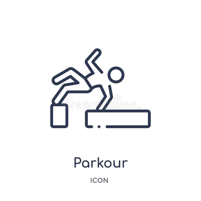 Linear parkour icon from Activity and hobbies outline collection. Thin line parkour vector isolated on white background. parkour royalty free illustration