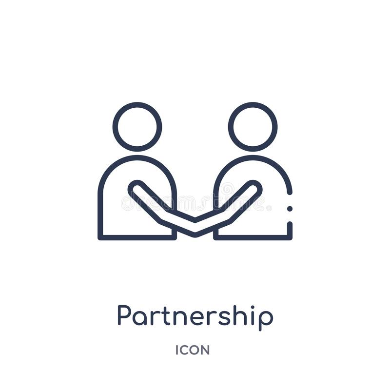 Linear partnership icon from Business and analytics outline collection. Thin line partnership vector isolated on white background royalty free illustration