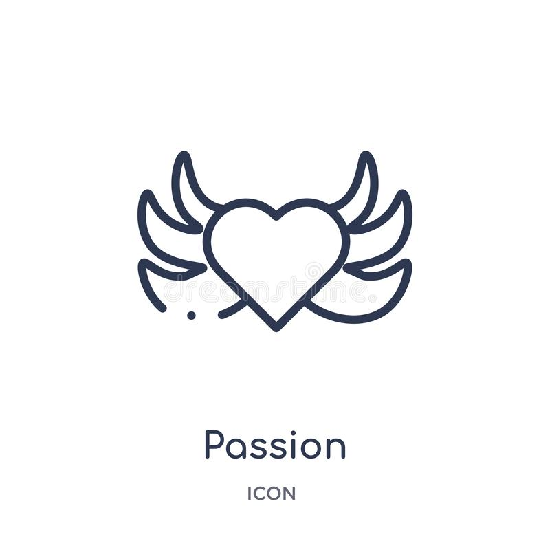 Linear passion icon from Ethics outline collection. Thin line passion vector isolated on white background. passion trendy royalty free illustration