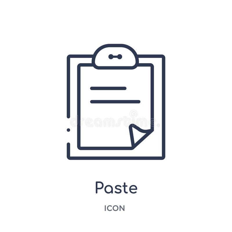 Linear paste icon from Content outline collection. Thin line paste vector isolated on white background. paste trendy illustration stock illustration