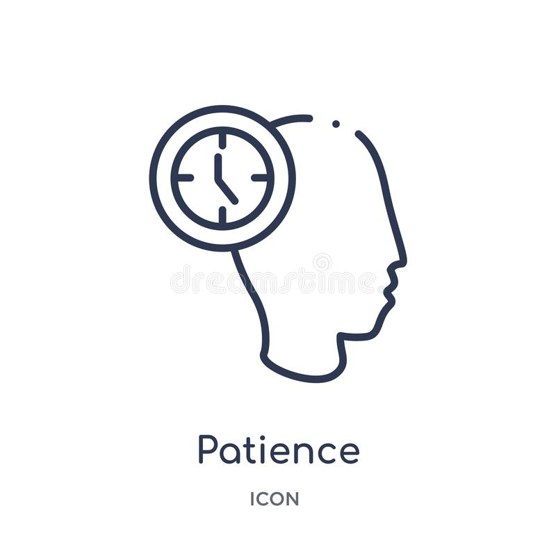 Linear patience icon from General outline collection. Thin line patience icon isolated on white background. patience trendy stock illustration