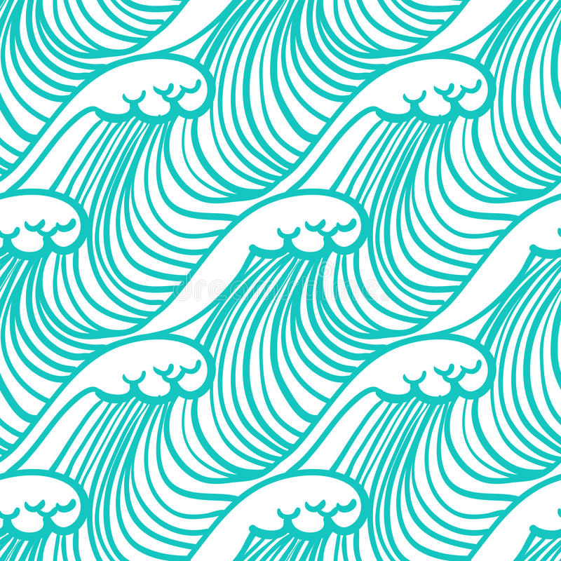Linear pattern in tropical aqua blue with waves vector illustration