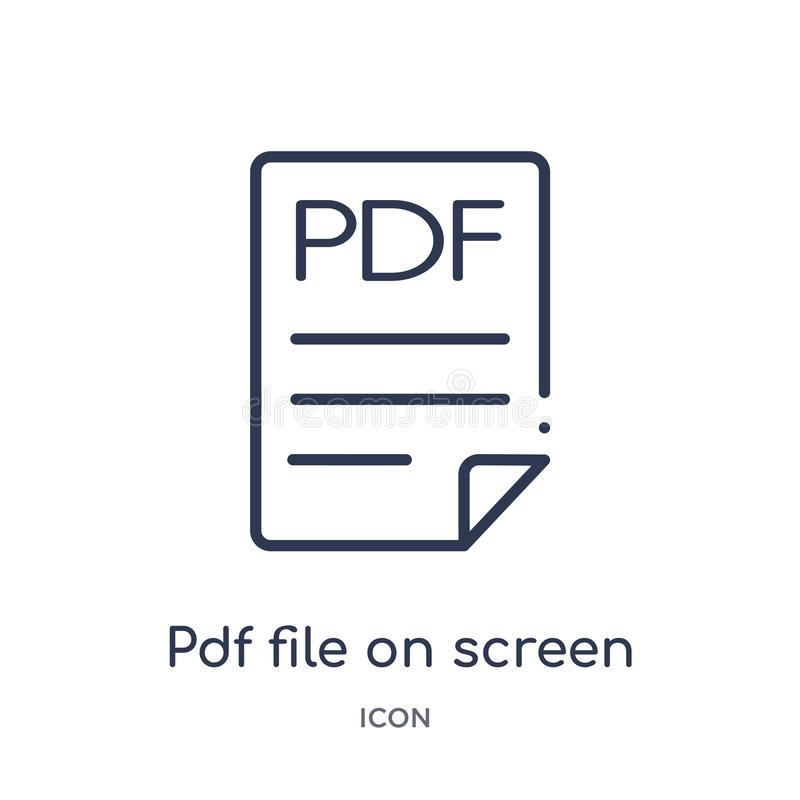 Linear pdf file on screen icon from Education outline collection. Thin line pdf file on screen icon isolated on white background. royalty free illustration