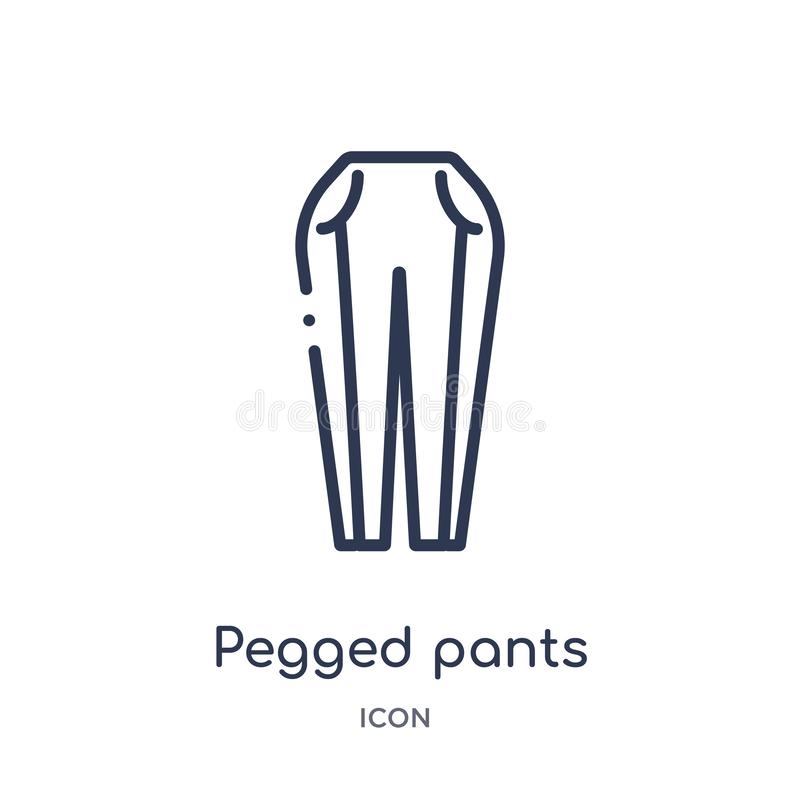 Linear pegged pants icon from Clothes outline collection. Thin line pegged pants vector isolated on white background. pegged pants. Trendy illustration royalty free illustration