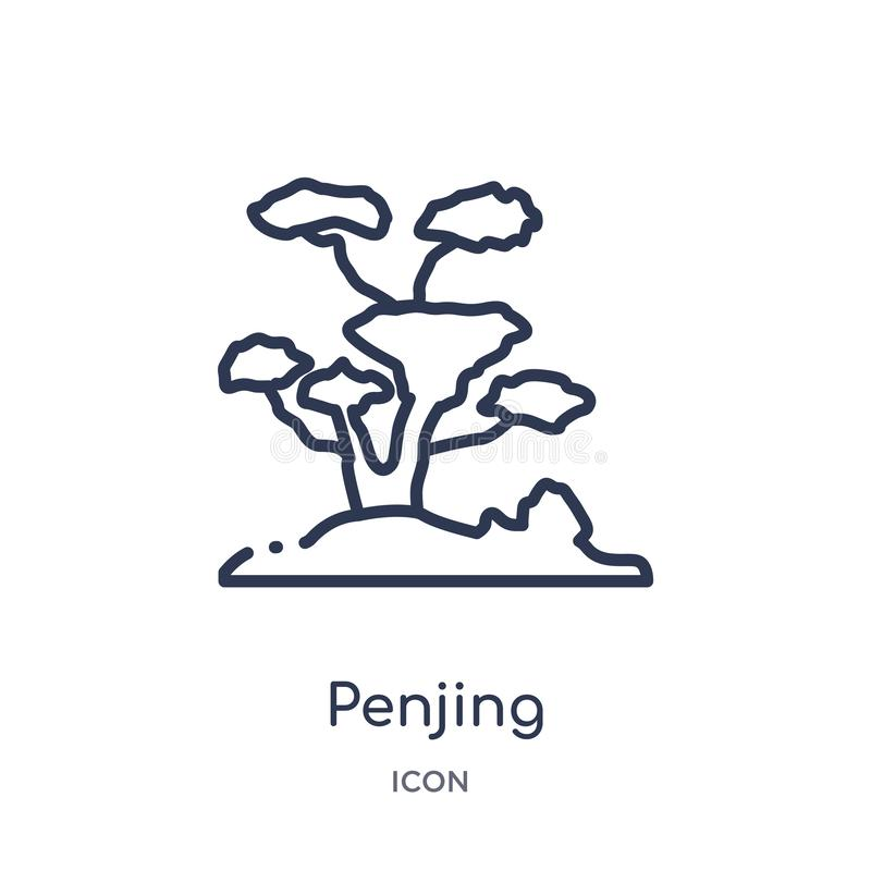 Linear penjing icon from Asian outline collection. Thin line penjing vector isolated on white background. penjing trendy. Illustration stock illustration