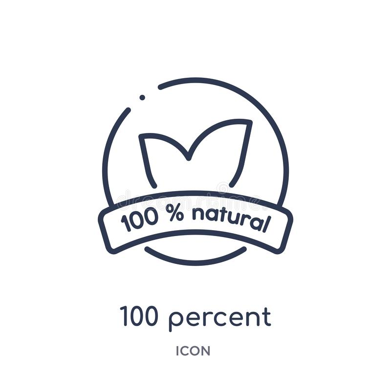Linear 100 percent natural icon from Ecology outline collection. Thin line 100 percent natural vector isolated on white background stock illustration