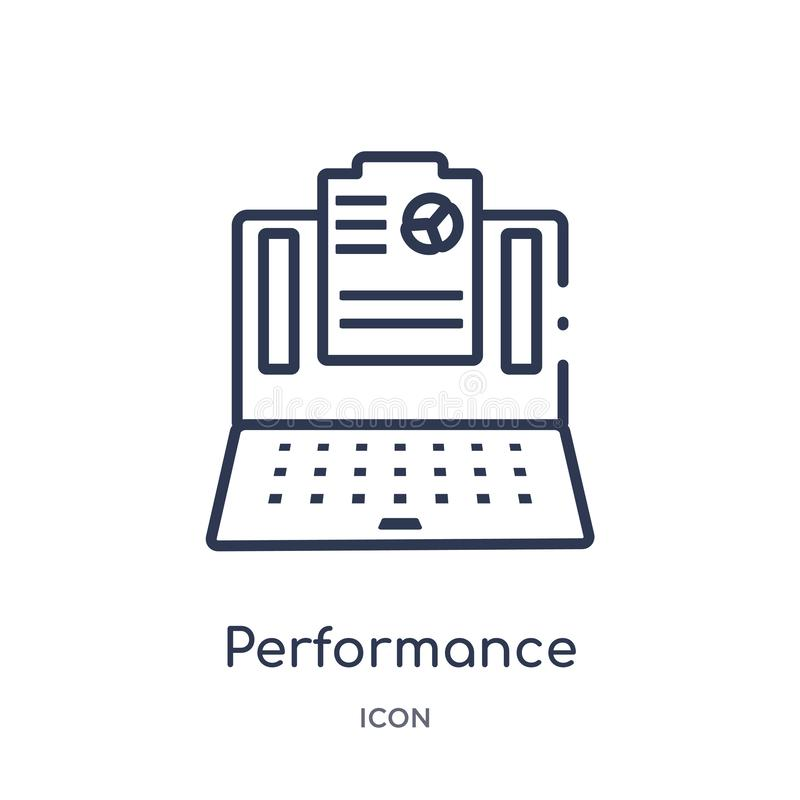Linear performance icon from Marketing outline collection. Thin line performance icon isolated on white background. performance royalty free illustration