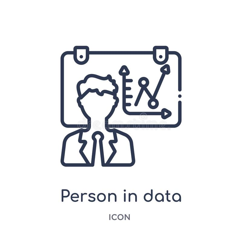 Linear person in data analytics presentation with a graphic on a screen icon from Business outline collection. Thin line person in vector illustration