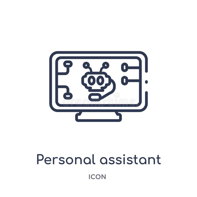 Linear personal assistant icon from Artificial intellegence and future technology outline collection. Thin line personal assistant. Vector stock illustration