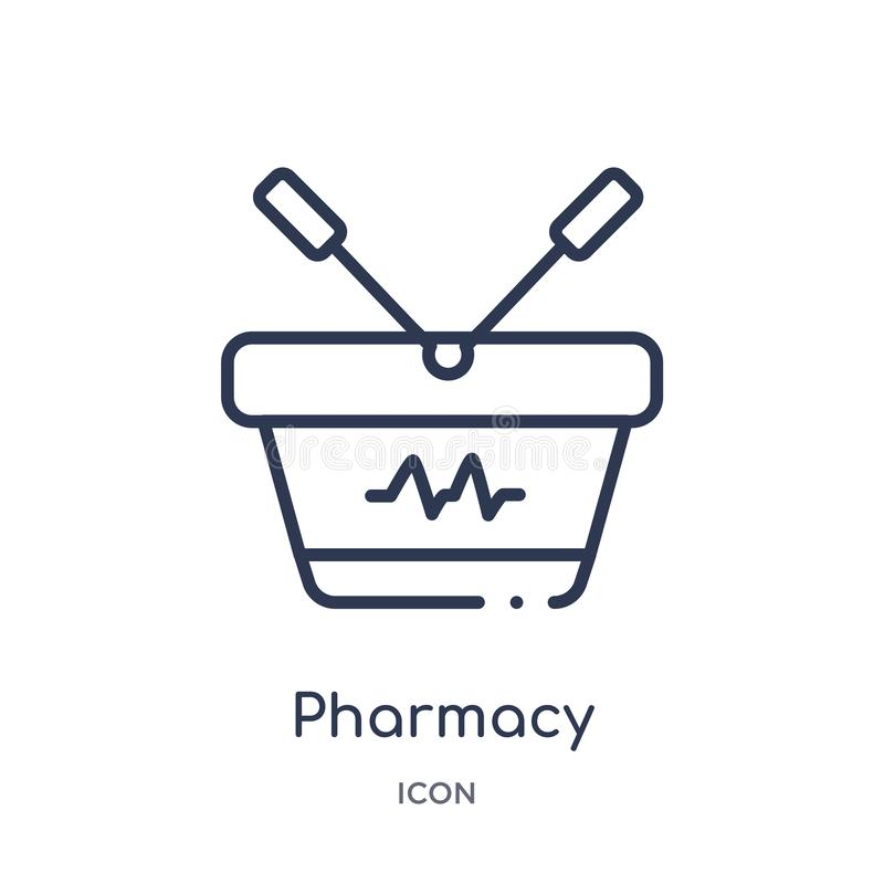 Linear pharmacy shopping cart icon from Medical outline collection. Thin line pharmacy shopping cart icon isolated on white vector illustration