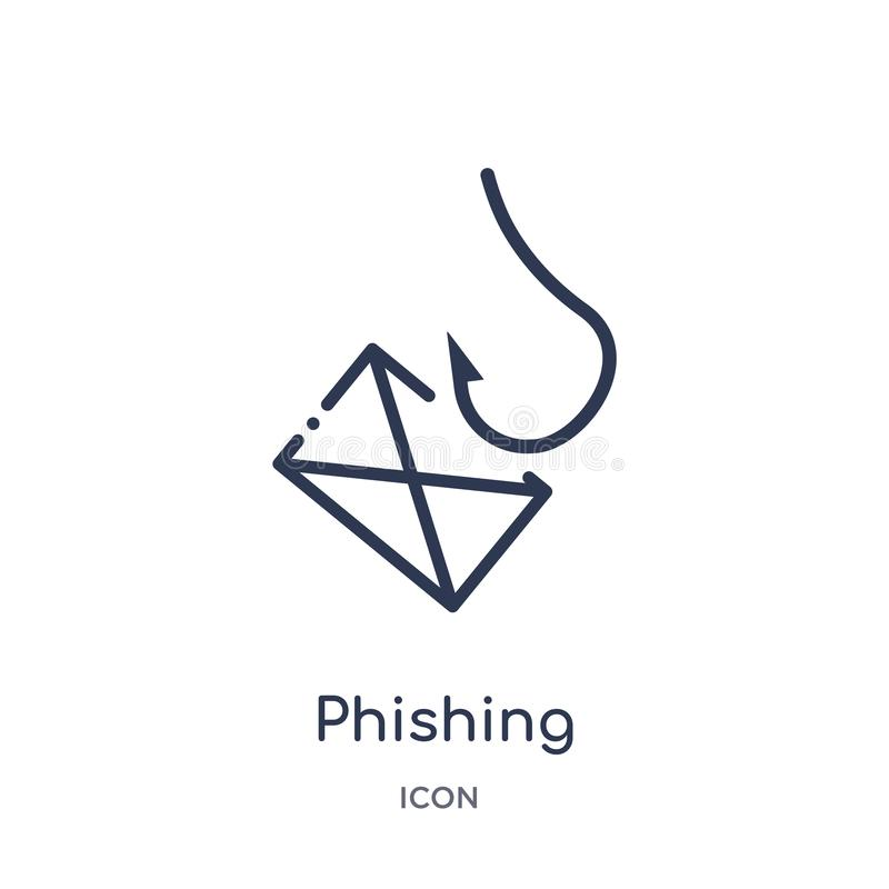 Linear phishing icon from Internet security and networking outline collection. Thin line phishing icon isolated on white stock illustration