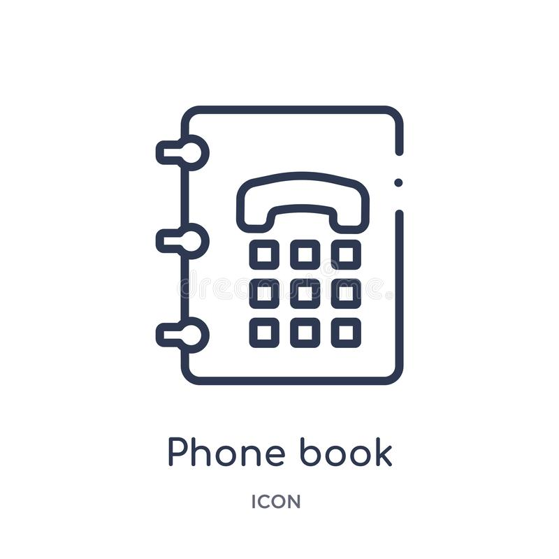 Linear phone book icon from Content outline collection. Thin line phone book vector isolated on white background. phone book royalty free illustration