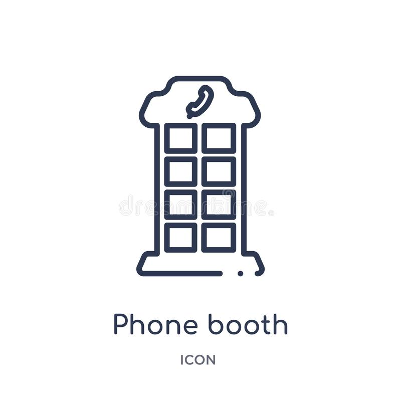 Linear phone booth icon from City elements outline collection. Thin line phone booth vector isolated on white background. phone royalty free illustration