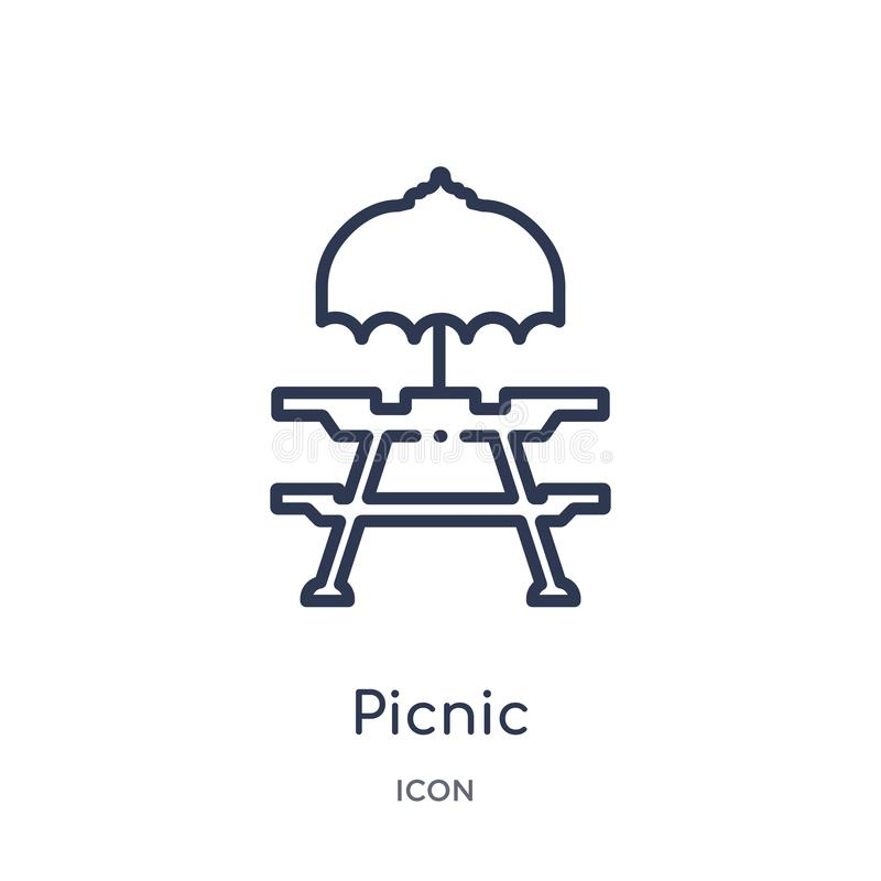 Linear picnic icon from Camping outline collection. Thin line picnic vector isolated on white background. picnic trendy. Illustration royalty free illustration