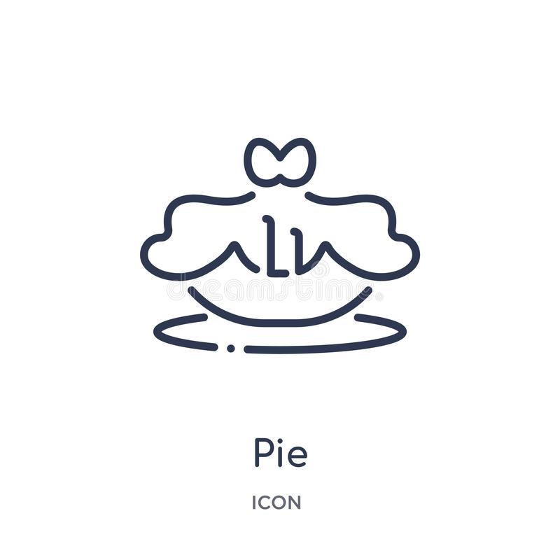 Linear pie icon from Gastronomy outline collection. Thin line pie icon isolated on white background. pie trendy illustration stock illustration