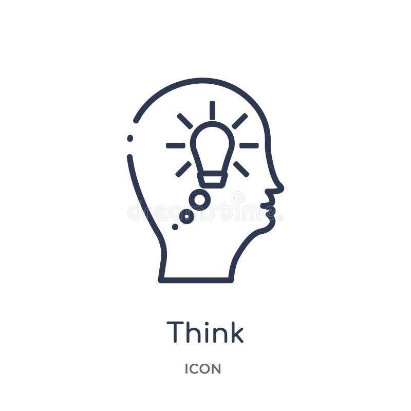 Linear piense el icono de la colección del esquema del proceso del cerebro La línea fina piensa vector aislada en el fondo blanco libre illustration