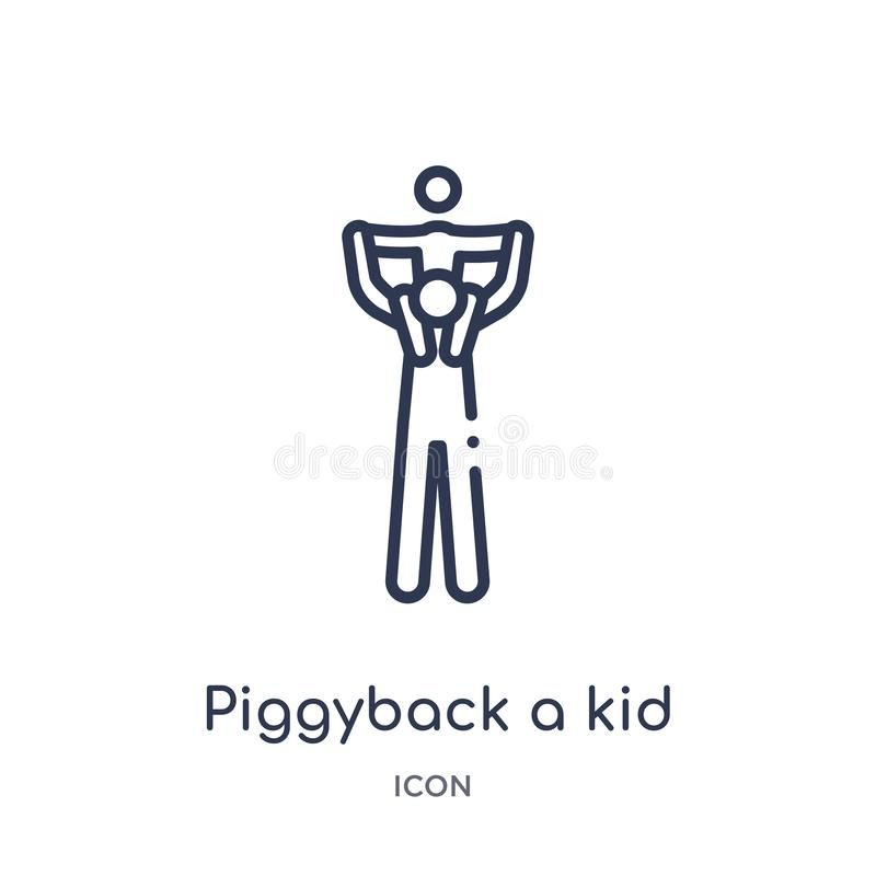 Linear piggyback a kid icon from Behavior outline collection. Thin line piggyback a kid vector isolated on white background. stock illustration