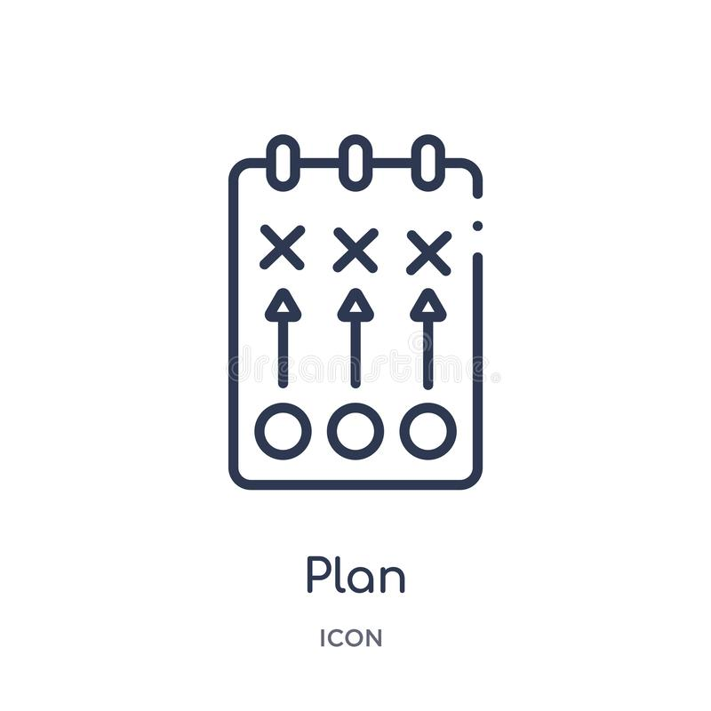 Linear plan icon from Football outline collection. Thin line plan vector isolated on white background. plan trendy illustration royalty free illustration