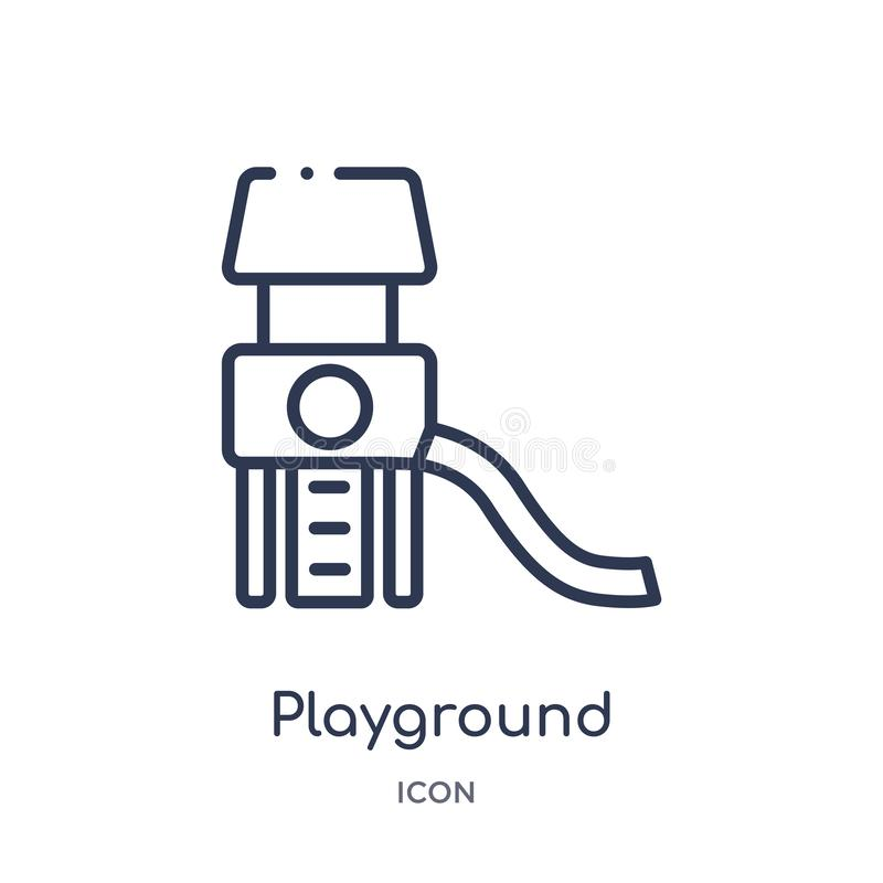 Linear playground icon from Entertainment and arcade outline collection. Thin line playground vector isolated on white background stock illustration