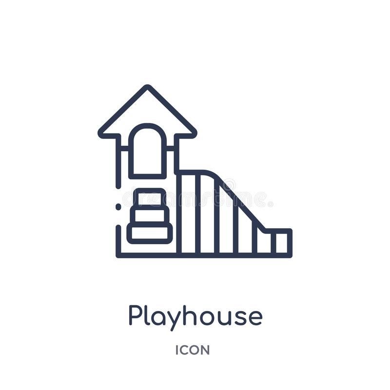 Linear playhouse icon from Kids and baby outline collection. Thin line playhouse icon isolated on white background. playhouse royalty free illustration