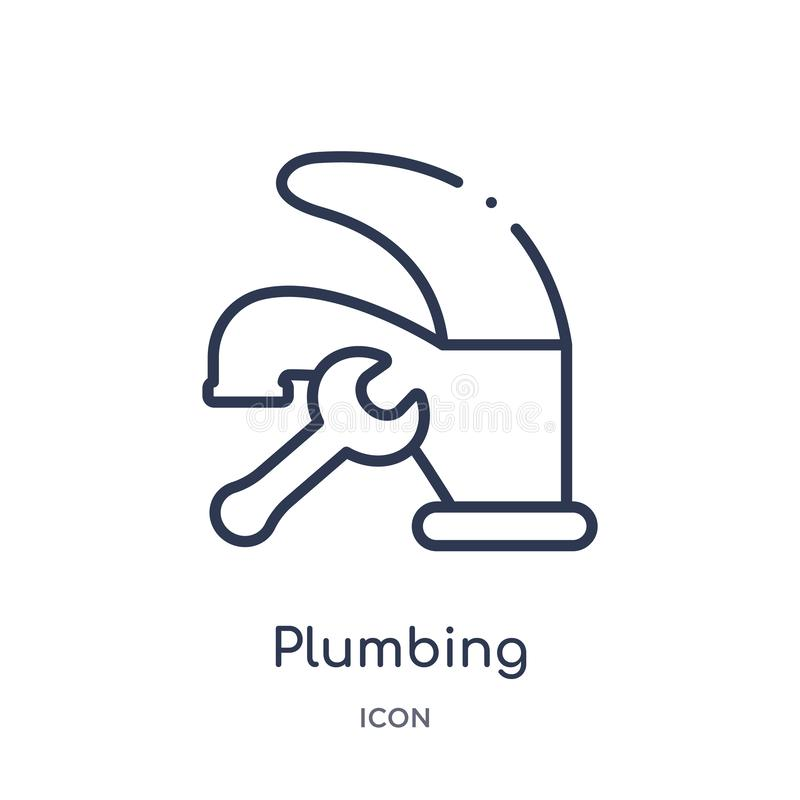 Linear plumbing icon from Construction tools outline collection. Thin line plumbing vector isolated on white background. plumbing stock illustration