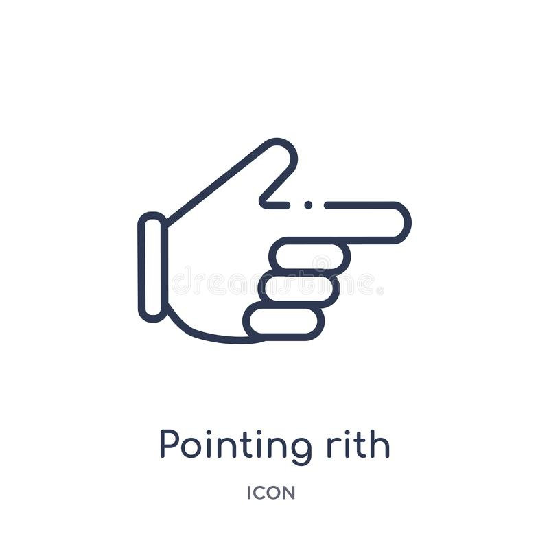 Linear pointing rith icon from Hands outline collection. Thin line pointing rith icon isolated on white background. pointing rith stock illustration