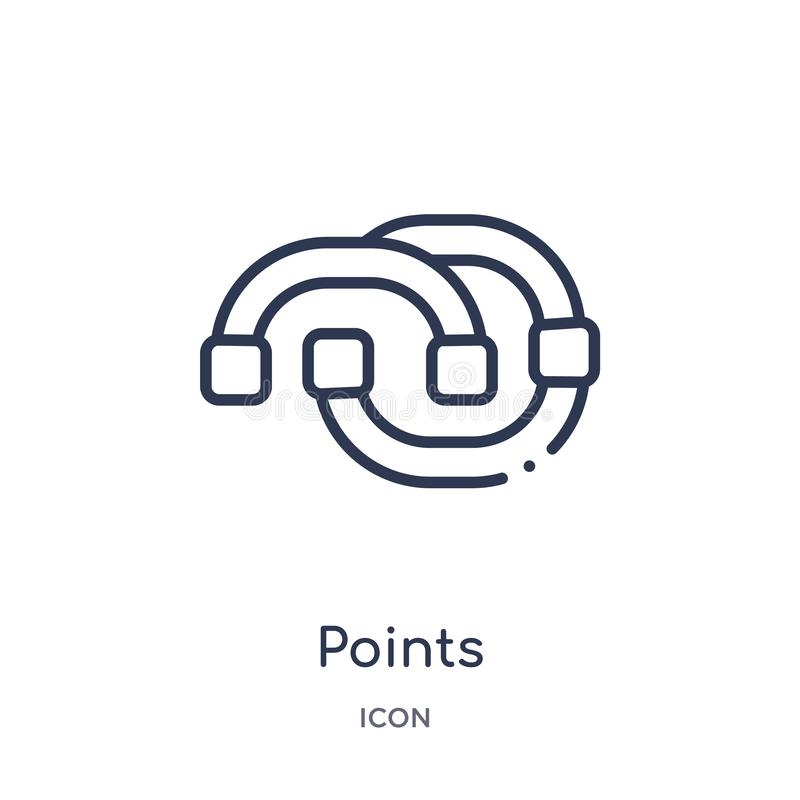 Linear points connected chart icon from Business outline collection. Thin line points connected chart icon isolated on white stock illustration