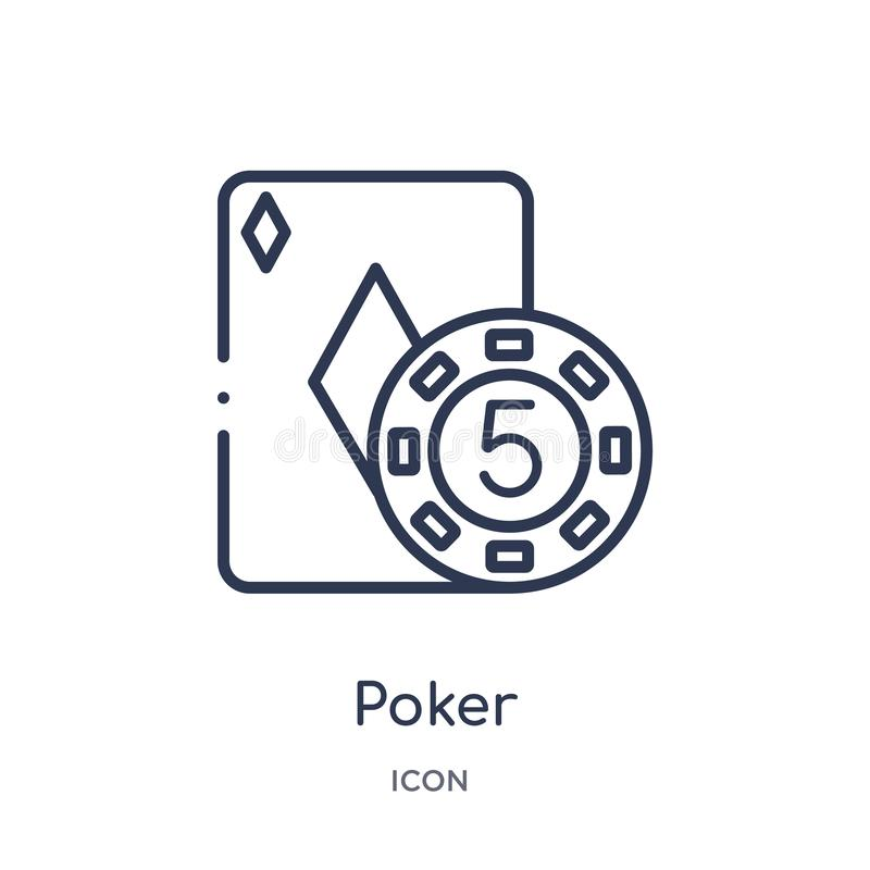 Linear poker icon from Entertainment and arcade outline collection. Thin line poker vector isolated on white background. poker vector illustration