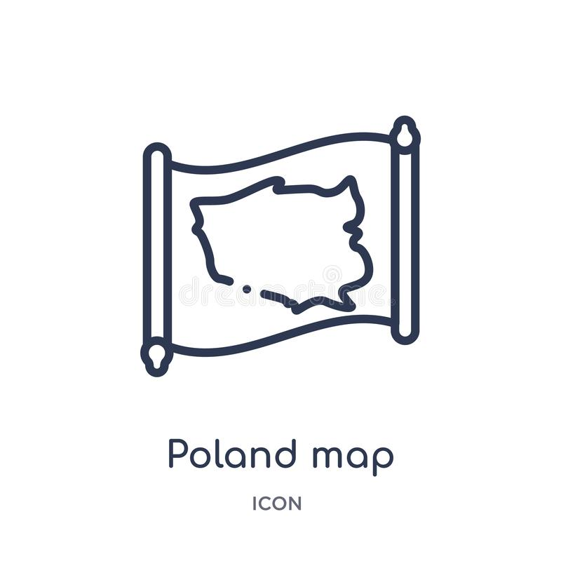 Linear poland map icon from Countrymaps outline collection. Thin line poland map vector isolated on white background. poland map vector illustration