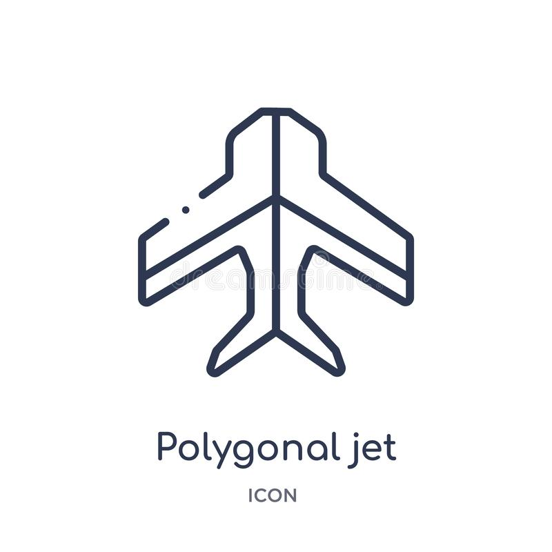 Linear polygonal jet aircraft icon from Geometry outline collection. Thin line polygonal jet aircraft icon isolated on white royalty free illustration
