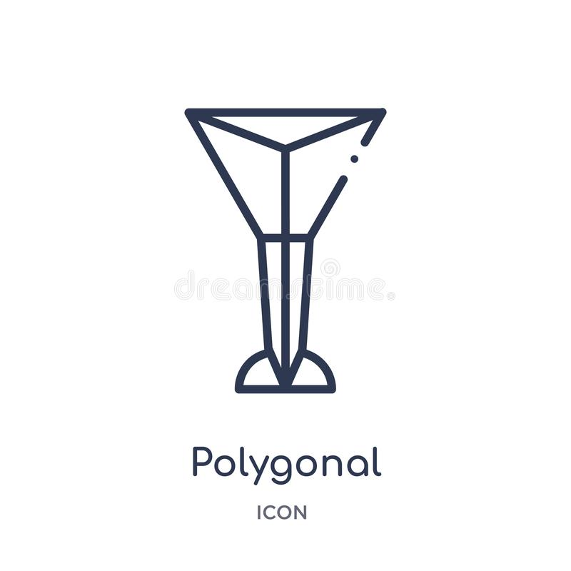 Linear polygonal martini glass shape icon from Geometry outline collection. Thin line polygonal martini glass shape icon isolated stock illustration