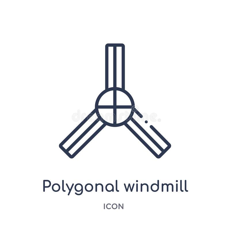Linear polygonal windmill icon from Geometry outline collection. Thin line polygonal windmill icon isolated on white background. stock illustration