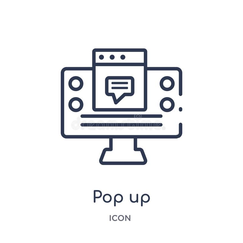 Linear pop up icon from Marketing outline collection. Thin line pop up icon isolated on white background. pop up trendy stock illustration