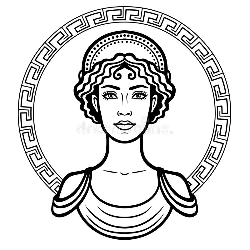 Linear portrait of the young Greek woman with a traditional hairstyle. royalty free illustration