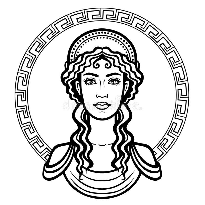 Linear portrait of the young Greek woman with a traditional hairstyle. stock illustration
