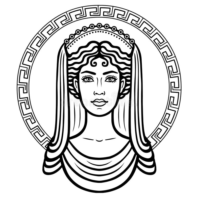 Linear portrait of the young Greek woman with a traditional hairstyle. Decorative circle. royalty free illustration
