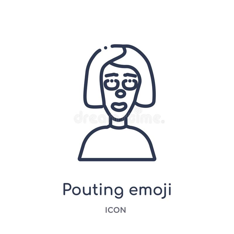 Linear pouting emoji icon from Emoji outline collection. Thin line pouting emoji vector isolated on white background. pouting. Emoji trendy illustration vector illustration